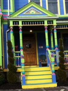 I Love Newton brightly colored Victorian house Newton MA Massachusetts