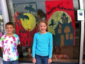 Newtonville Halloween window painting, Newton window painting, Saylor, kids window painting