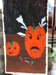 Newtonville Halloween window painting, Newton window painting