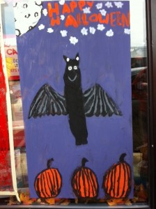 Newtonville Halloween window painting, Newton window painting, Halloween paintings