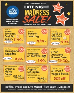 Whole Foods Midnight Madness Sale Newtonville