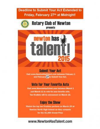 Newton Has Talent: Apply by Midnight Tonight!