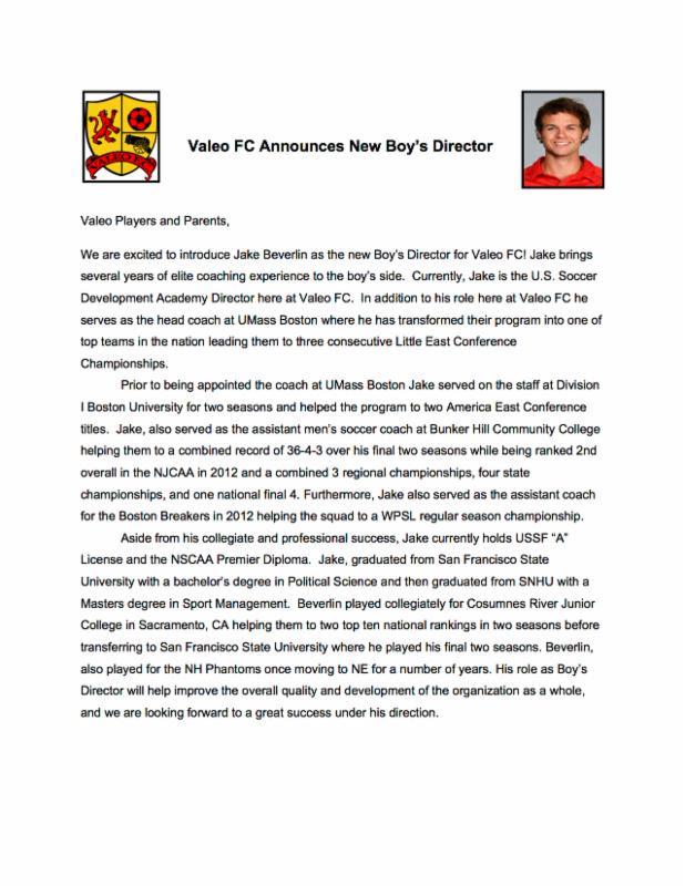 Valeo FC Announces New Boy's Director!