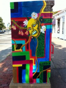 Newton street art, Newton BoxArt, freaky woman face box art