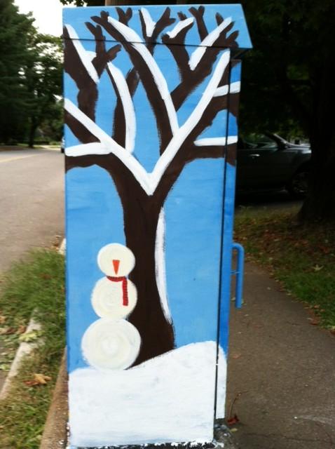 four seasons tree street art, four seasons apple tree Newton, BoxArt