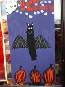 Newtonville Halloween window painting, Newton window painting, Halloween paintings