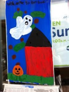 Newtonville Halloween window painting, Newton window painting, Halloween Newton