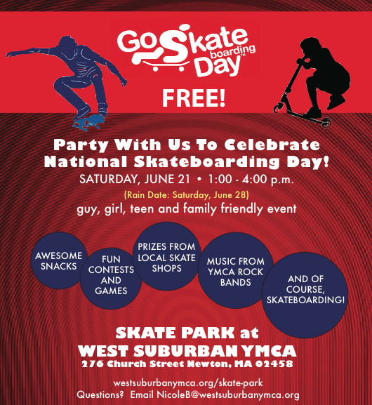 Skateboarding Day for kids at West Suburban YMCA in Newton