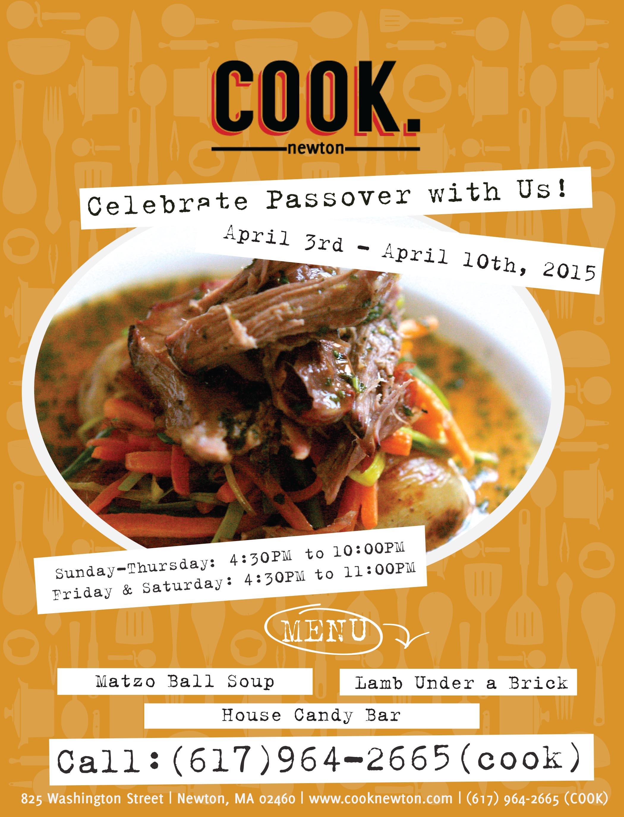 Cook Restaurant Offers Seder Menu in Honor of Passover