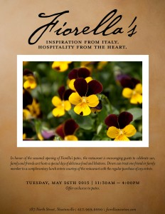 Fiorella's Patio Opening Gifts Complimentary Lunch Entrées
