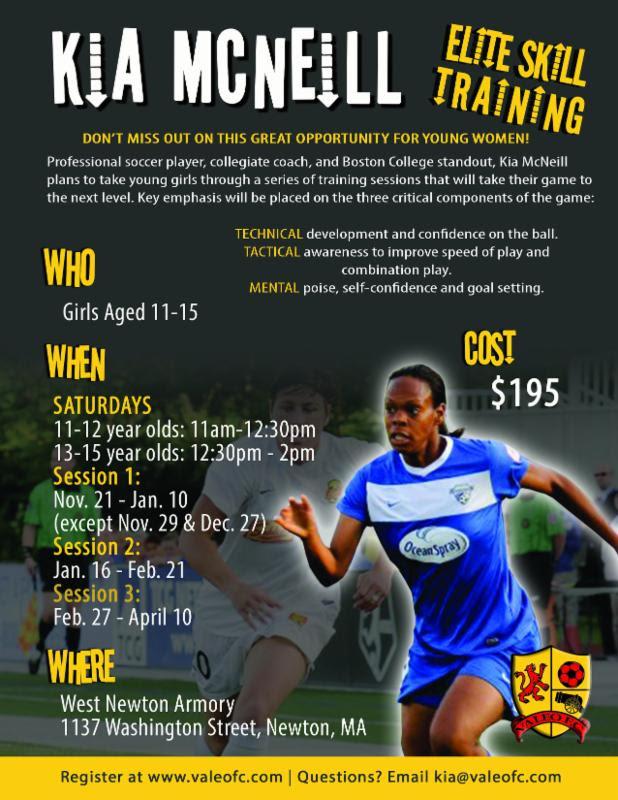 Kia McNeill Elite Skill Soccer Clinics for Girls