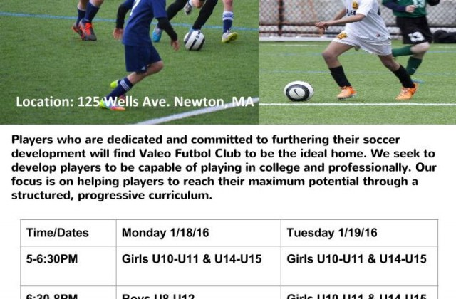 Valeo FC Winter Soccer Tryouts for Boys and Girls