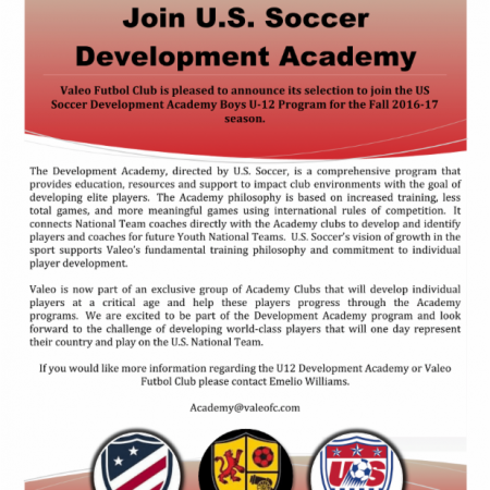 Valeo F.C. Selected to Join U.S. Soccer Development Academy