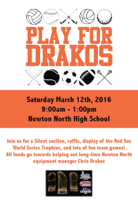 Help raise funds for equipment manager Chris Drakos