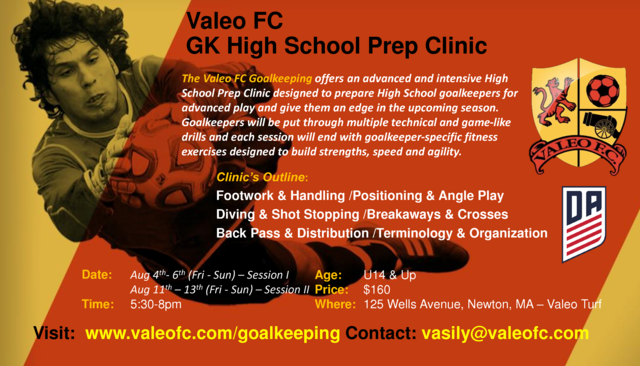 Elite GK High School Prep Clinic - Valeo Futbol Academy